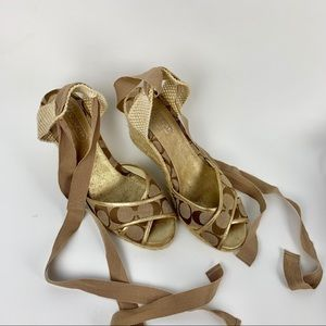 Coach Gold Mila Wedge Sandals Size 8